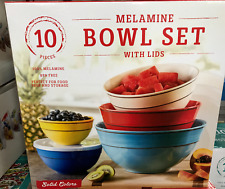 Solid Colors Melamine 10-Piece Mixing Bowl Set With Lids Kitchen Organization