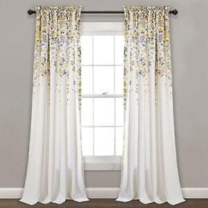 Weeping Flowers Window Panel Curtain Set (Pair), 84 in x 52 in, Yellow & Gray,