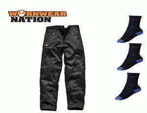 Dickies Redhawk Mens Action Trousers Work Pant Workwear Black FREE SOCKS