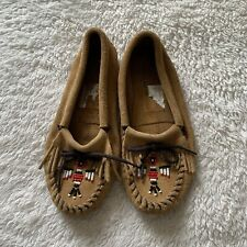 Minnetonka Beaded Tassle Soft Suede Brown Moccasin Flats Size 7