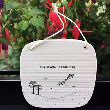 Fly High Dream Big – East of India White Porcelain Plaque Inspirational Gift