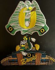 (2) UO Oregon Ducks Vintage Embroidered Iron On Patch Lot 3.5 x 3.5 & 4 x 2.5