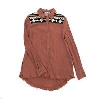 BKE womens Long Sleeve metal Button Up shirt tribal aztec top L Collar fringe