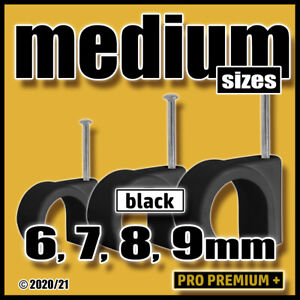 Black Round Cable Clips Clamps Wall Tidy Tacks Wire Flex Leads 6mm,7mm,8mm,9mm
