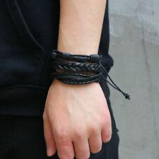 1 set /6pcs Leather Bracelet Men Multilayer Punk Braid Wrap Bracelets & Bangles