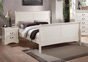 Full or Twin Size Bed Louis Phillipe 4Pcs Bedroom Furniture Set in White Finish