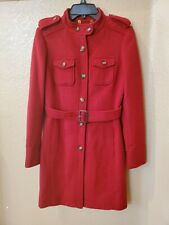 Tory Burch Red Wool Military Style Trench Coat Jacket size 2, $495
