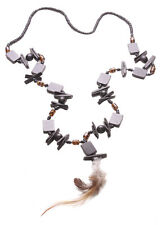 Coal Black Wooden Square Stacks feather Pendant Beads Necklace.(Zx133)