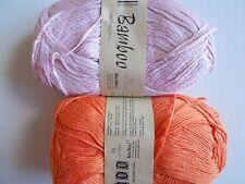 MeiMei Bamboo yarn, light pink/orange, mixed lot of 2 (186 yds ea)
