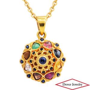 Estate 2.00ct Sapphire Ruby Emerald Multi Stone 18K Gold Cluster Pendant NR