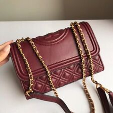 Authentic Tory Burch Fleming Small Convertible Leather Shoulder Bag Wine Red
