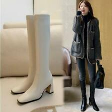 Womens Fashion PU Leather Elastic Block Heel Slim Fit Knee High Boots Shoes SUNS