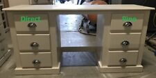 SHAFTESBURY 6 DRAWER DOUBLE DRESSING TABLE CREAM / CHROME CUP HANDLES