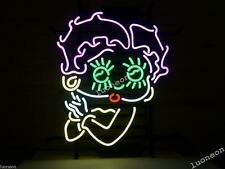 New BETTY BOOP GIRL HANDCRAFTED REAL GLASS BEER BAR NEON LIGHT SIGN Free Ship