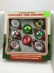 Vintage Christmas Tree Ornaments Made in Romania Box of 8