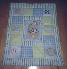 Just Born Blue Green White Bear Balls Football Baseball Basketball Quilt Blanket