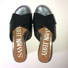 Sam & Libby Faux Leather Black and Silver Slip On Wedges Size 6.5