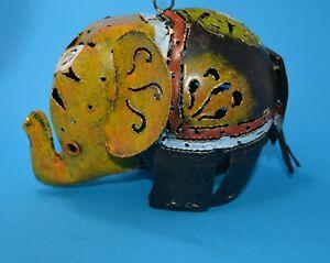 "Fun Boho Elephant tealight candle holder pierced metal 5"" tall 7"" long hangs/sta"