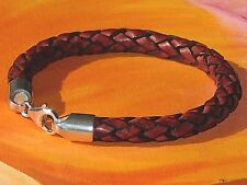 8mm Red-Brown braided leather & sterling silver bracelet by Lyme Bay Art.