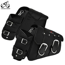 Motorcycle PU Leather Side Saddlebags Luggage Pouch Bag Waterproof Bottle Holder