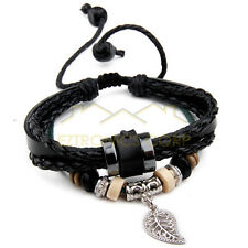Ethnic hemp Black leather strap Charm bracelet PI0276-A