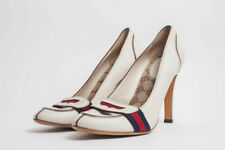 GUCCI Lifford White Leather Penny Loafer Stacked Heel Stiletto Pumps 7.5/8/38