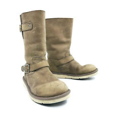 Ugg Australia Kensington Buckle Moto Boots Tan Leather Womens Size 7