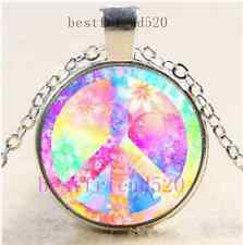 Rainbow Peace Sign Cabochon Glass Dome Silver Chain Pendant Necklace
