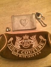 Olive Green Velour Juicy Couture Bag And Silver Key Fob.