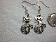Cat Kitten Sitting Pretty Earrings Drop Dangle Silver
