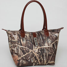 Realtree Women Camouflage Handbag Leather Tote Bag with twist lock accent Brown