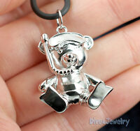 SOLID 925 Sterling Silver Snorkel / Scuba Dive Diver Teddy Bear Pendant Necklace