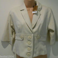 NEXT Cream Tailored 3/4 Sleeve Short Office Blazer Jacket (NEW)-UK size 8 £60.00