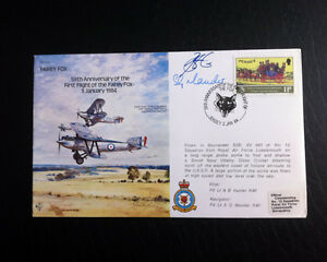 RAF B15 Flown & Signed FDC - Fairey Fox - NB Hunter & SG Mander (AFTAL)