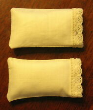 Miniature Dollhouse CREAM BED PILLOWS 4-pc Mini Bedroom Linens FREE US SHIPPING