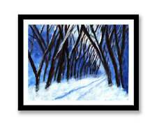 Tree lined snow covered road - acrylic painting unique gift (Print) ID :1569