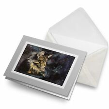 Greetings Card (Grey) - Maine Coon Cat Painting Art #15684
