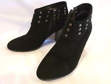 """CONNIE Black Suede Leather Ankle Boots Silver NIckle Studs 3"""" Chunky Heel 7.5 M"""