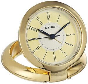 Seiko Richard Quartz Polished Brass Bedside/Travel Alarm Clock QHT013GLH