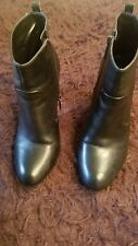 Nine West womens nwsinchi leather heel ankle black boots side zipper size 8.5