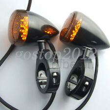 2x Motorcycle Black 39mm Fork Clamp Front LED Turn Signal Light Lamp For Harley