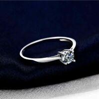 Damen Solitär Ring 925er Sterling Silber Zirkonia Rhodiniert 18 K Weißgold verg