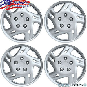 """4 NEW OEM SILVER 14"""" HUBCAPS FITS GEO CAR METRO CENTER WHEEL COVERS SET"""