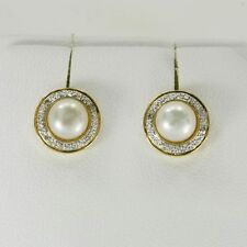 Natural 7mm Pearl & 8 Diamond 9ct 9k Solid Gold Stud Earrings Bravo Jewellery