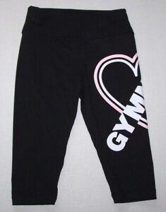 Justice Gymnast Logo Capris Leggings Capri Pants Tight Fit Black New Girl