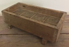 Antique RARE Large 8 Mold Butter Press Tray Dovetail Wood 1800's HL LH Initials