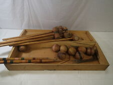 Antique 6 PLAYER WOOD CROQUET SET w Original WOODEN BOX Yard Game
