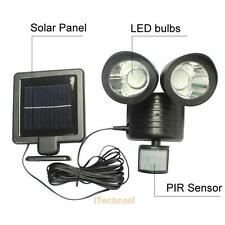 22 LED Solar Powered Dual Light Flood Lamp Security Garage PIR Sensor Outdoor