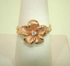 13.5mm Hawaiian 14k Rose Gold Brushed Satin Plumeria CZ Flower Ring 8.5