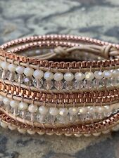 New Nakamol Wrap Bracelet Rose Gold Tone Crystal Beads Leather New With Tags